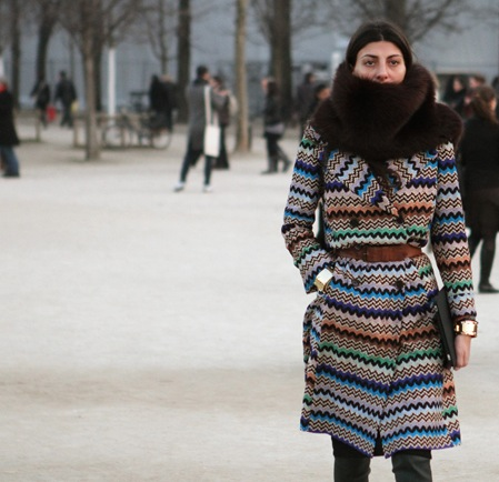Giovanna_Battaglia_Striped_Vintage_Missoni_Coat_Fur_Collar