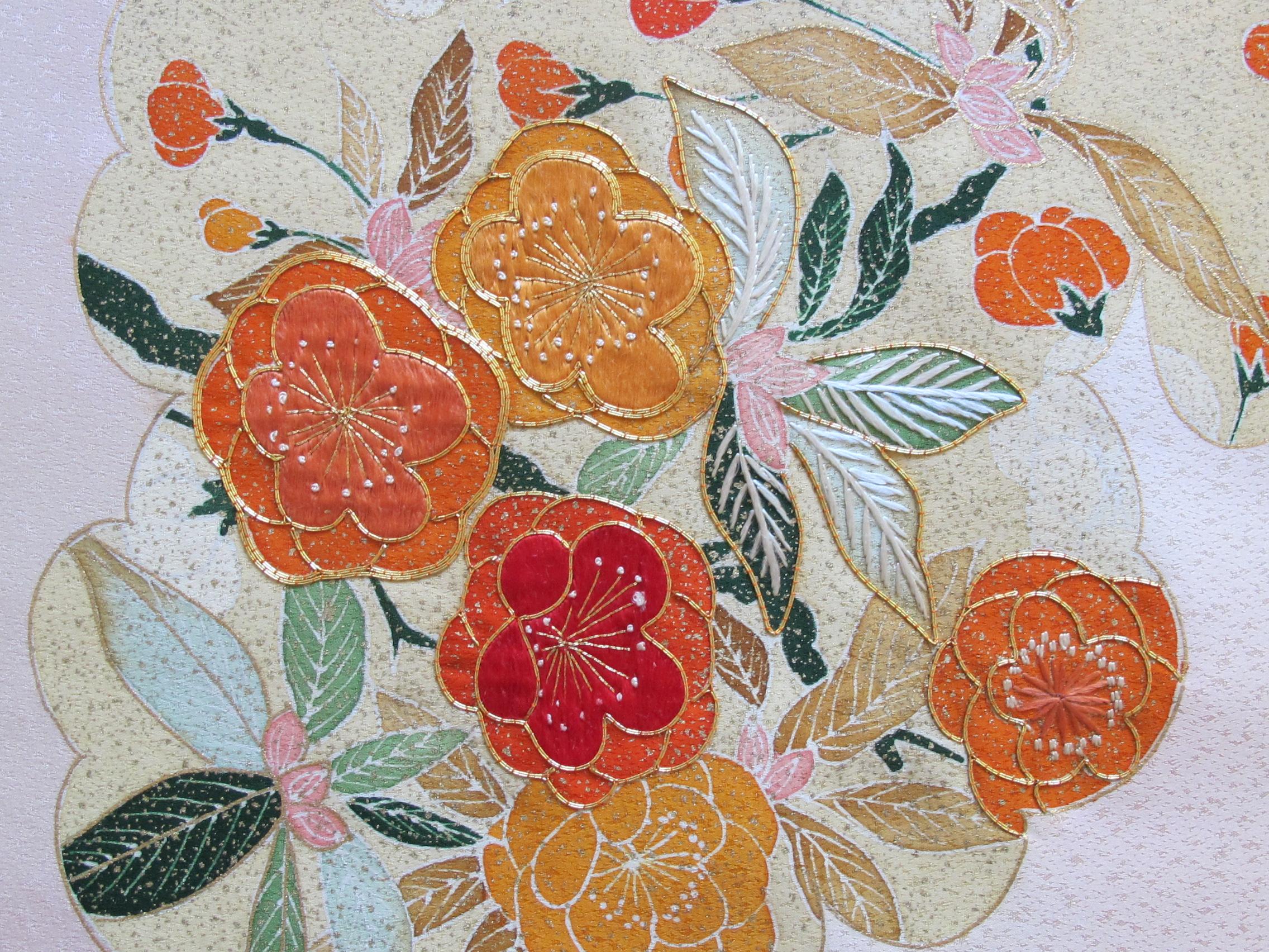 Japanese Embroidered Kimono Silk Roll SOLD | Designer Fabrics Australia